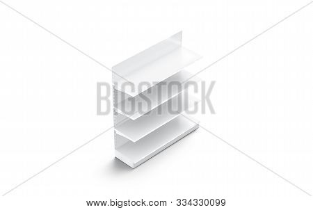 Blank White Showcase Shelves Mockup Stand, Side View, 3d Rendering. Empty Market Or Library Stillage