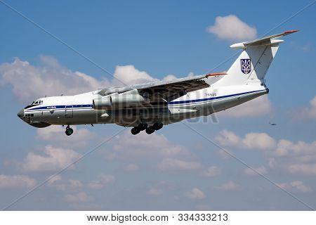 Fairford / United Kingdom - July 12, 2018: Ukrainian Air Force Ilyushin Il-76md 78820 Transport Plan