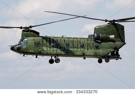 Fairford / United Kingdom - July 12, 2018: Netherlands Air Force Boeing Ch-47 Chinook D-106 Transpor