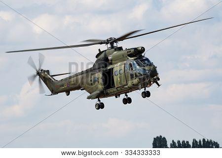 Fairford / United Kingdom - July 12, 2018: Royal Air Force Aerospatiale (westland) Sa-330e Puma Hc1