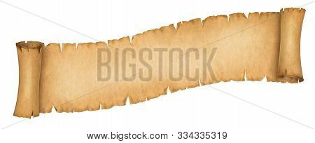 Vintage Paper Scroll Banner Isolated On White. Old Manuscript Or Papyrus Scroll Horizontal Oriented.
