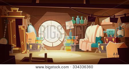 House Attic With Old Broken Furniture, Dust Flying In Air And Spider Web, Cartoon Vector Background.