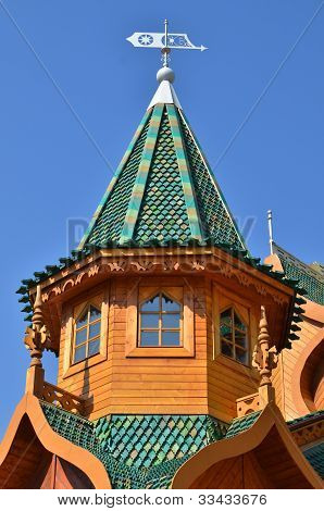 Roof of tower in wooden palace of tzar in Kolomenskoe Moscow Russia poster