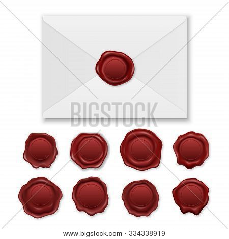 Vector 3d Realistic Envelope And Vintage Retro Stamp Wax Seal Icon Set Closeup Isolated On White Bac