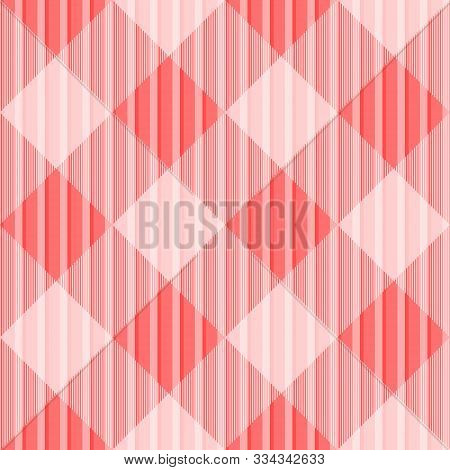 Tartan Seamless Scarlet Pattern Background, Vector Illustration