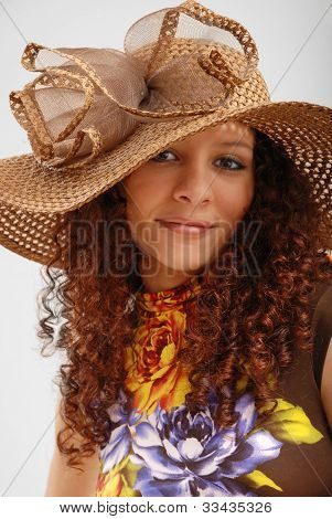 Frizzy Girl In The Hat Wide-brimmed.