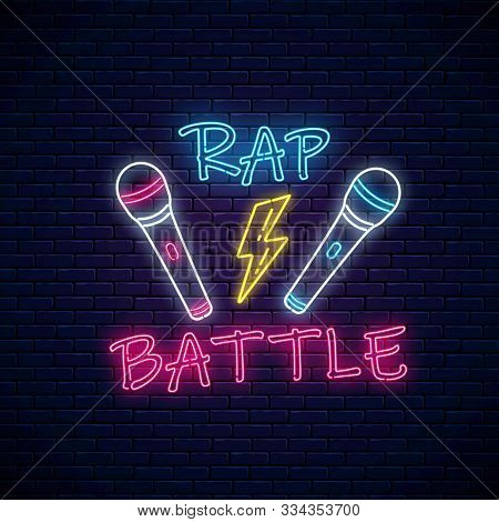 Rap Battle Neon Sign With Two Microphones And Lightning. Emblem Of Hip-hop Music. Rap Contest Advert