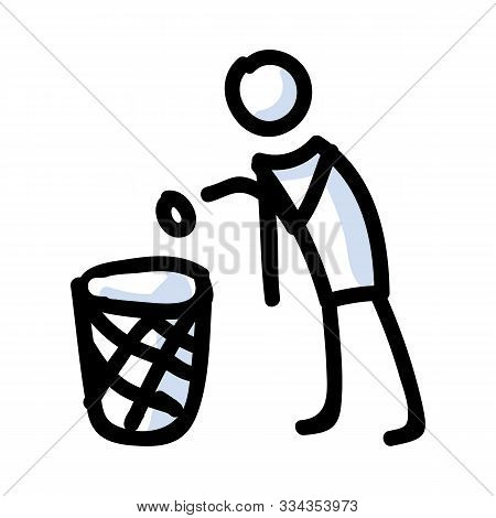 Hand Drawn Stickman With Rubbish Bin. Concept Of Collecting Rubbish And Recycling.. Simple Icon Moti
