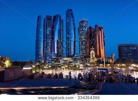 Abu Dhabi, United Arab Emirates - November 1, 2019: Etihad Towers Skyscrapers At The Downtown Abu Dh