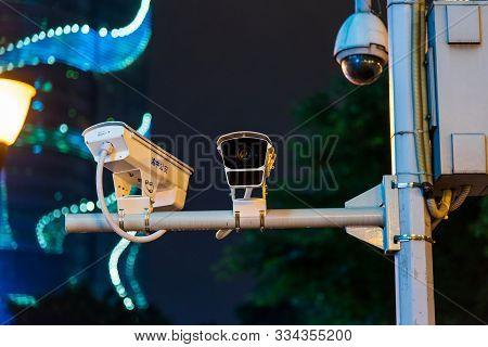 Chongqing, China - July 22, 2019: Surveillance Cctv Camera On The Street A Common View In Chongqing,