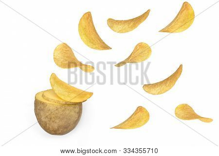 Raw Natural  Potato Slices Turning Into Flying Chips. Potato Crisps Concept Isolated On White Backgr