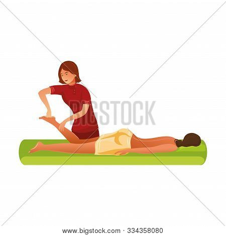 Smiling Masseur Standing And Making Massage Of Feet Vector Illustration