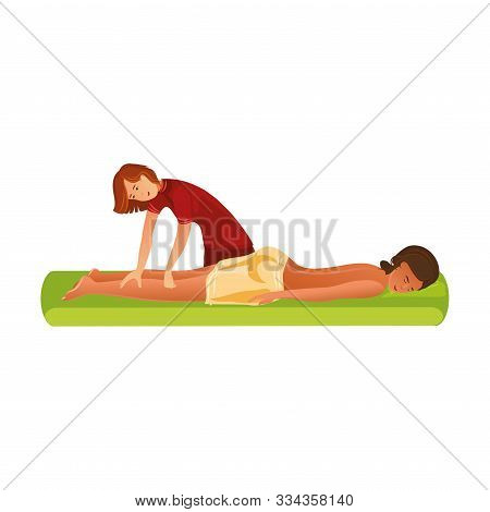 Smiling Masseur Standing And Making Massage Of Legs Vector Illustration