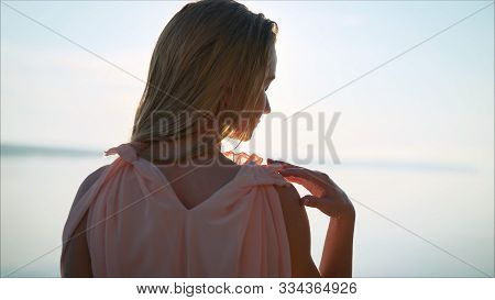 Beautiful Young Woman With Wet Hair Morning Dawn. The Girl At Dawn. A Young, Beautiful Girl With Her