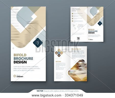 Bi Fold Brochure Design. Biege Template For Bi Fold Flyer. Layout With Modern Square Photo And Abstr