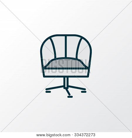 Armchair Icon Colored Line Symbol. Premium Quality Isolated Ergonomic Chair Element In Trendy Style.