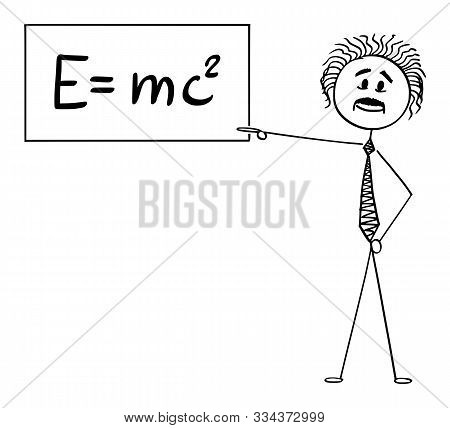 Vector Cartoon Stick Figure Drawing Conceptual Illustration Of Scientist Or Physicist Pointing At Si