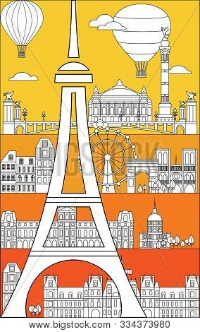 Poster With Landmarks Of Paris, Vertical Vector Monochrome Illustration In Line Art Style On Bright