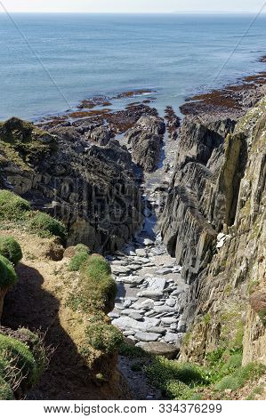 Cliffs With Vertical Rock Strata At Windy Cove, Morte Point, North Devon