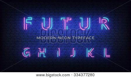 Neon Light Alphabet Font. Glowing Neon Illuminated 3d Modern Typeface. Letters G, H, I, J, K , L
