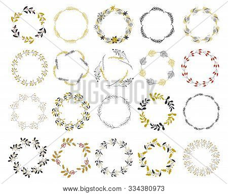 Vector Illustration - Laurels And Wreaths. Merry Christmas Wreath. Sketched Wreath, Floral. Botanica