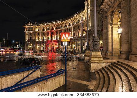 October 18,2019 Piazza Della Repubblica, Rome Italy. After Rain At Night  Piazza Della Repubblica Is