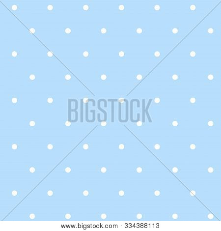 Pattern With White Dots On A Blue Background. Vector Idle Ornament In Shabby Chic Style