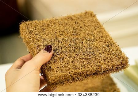 Mattress Filler. Coconut Coir. Grated Coconut Shell For The Production Of Mattresses. Background Of