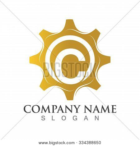 C Letter Logo Or Symbol Creative Gear Template