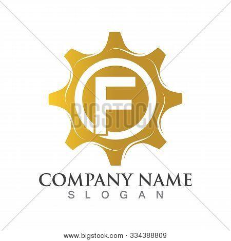 F Letter Logo Or Symbol Creative Gear Template