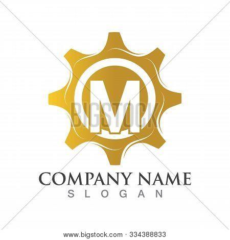 M Letter Logo Or Symbol Creative Gear Template