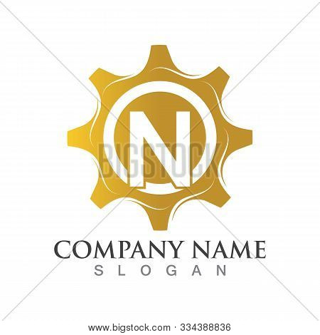N Letter Logo Or Symbol Creative Gear Template