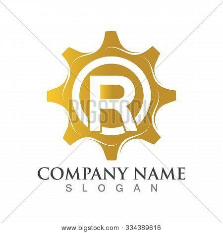 R Letter Logo Or Symbol Creative Gear Template