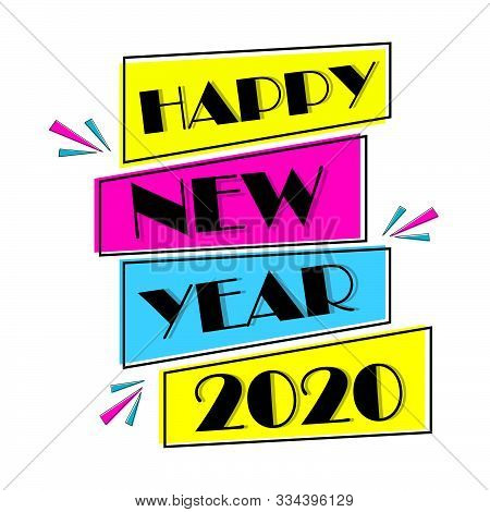 2020 Colorful Text Isolated On Background, New Year 2020, 2020 Text For Calendar New Years, Happy Ne