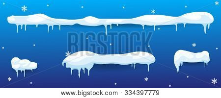 Snow Elements. Set Of Isolated Snow Cap. Snow Cap Vector Collection.  Snow Cap For Design And Decora