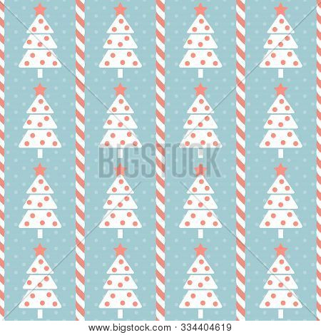 Christmas Pattern. Seamless Vector Illustration With Stylized Christmas Trees And Candy Canes