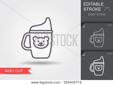 Baby Cup. Line Icon With Editable Stroke With Shadow