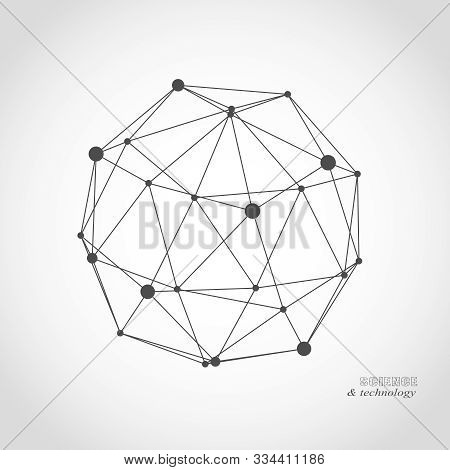 Platonic Solid Design. Connected Lines With Dots. Medical, Technology, Chemistry And Science Icon De