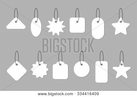 Blank White Tag Price Collection. Sale Tags Or Labels On Gray Background. Paper Blank Discount Label
