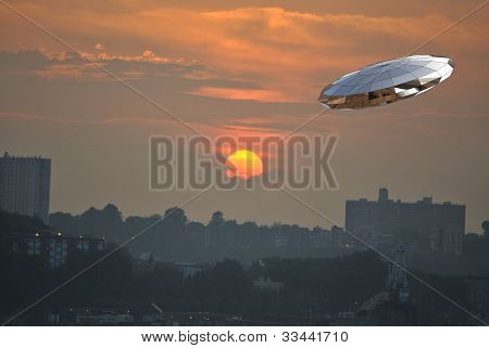 sunset with spacecraft in 3d