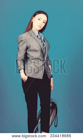 Student Life. Smart Beauty. Nerd. Girl Student In Formal Clothes. Stylish Woman In Jacket With Leath