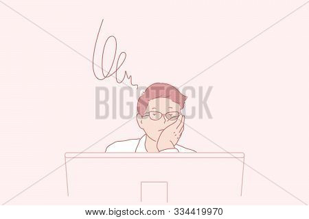 Brainstorming, Thoughts, Task, Business Concept. Young Busy Man, Businessman Worries About A New Job