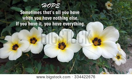 Inspirational Motivational Quote - Hope Sometimes That Is All You Have When You Have Nothing Else. I