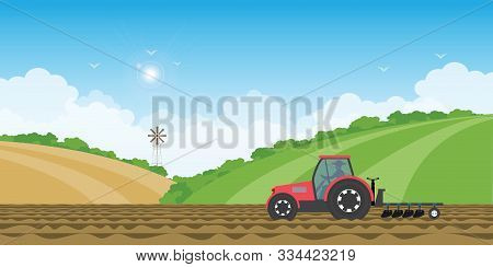 Farmer Driving A Tractor In Farmed Land On Rural Farm Landscape Hill Background.vector Illustration.