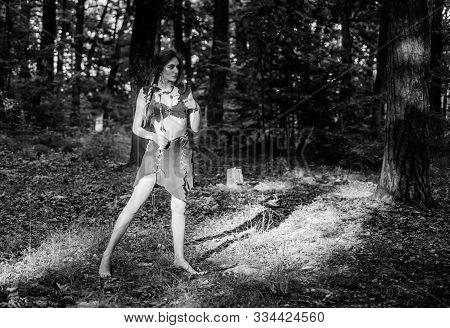 Culture Of Wild Human. Fashion Primitive Design. Female Spirit Mythology. Wild Woman In Forest. Fore
