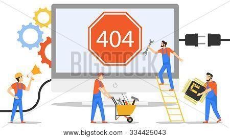 Error 404. Error Opening The Web Page. A Team Of Engineers Is Repairing A 404 Error. Vector, Cartoon