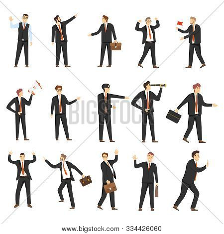 Businessmen, Business People, A Set Of Different Businessmen In Different Positions, Standing, In Is