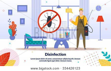 Professional Pest Control Service, Home Disinfection Company Trendy Vector Ad Banner, Promo Poster T