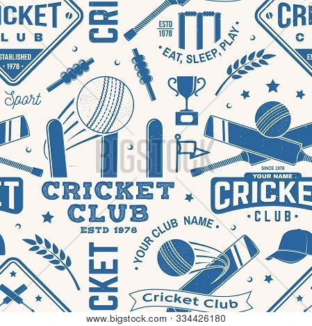 Cricket Club Seamless Pattern Or Background. Vector Illustration. Seamless Sport Pattern With Cricke