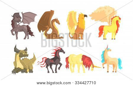 Fantastic Mythological Creatures And Beasts Vector Set